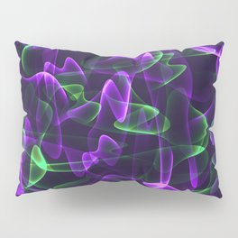 Cosmic interwoven purple cobwebs of green lines and smoke in the radiance. Pillow Sham