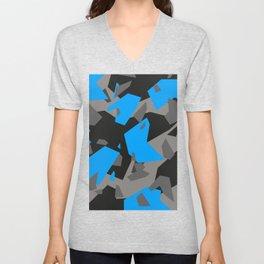 Black\Grey\Blue Geometric Camo Unisex V-Neck