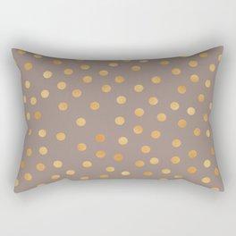 Rose gold polka dots - mocha golden Rectangular Pillow
