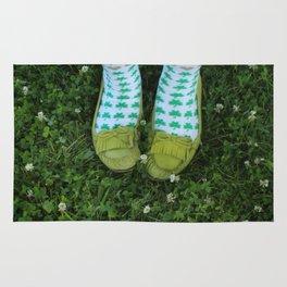 Shamrock Socks in a Green Clover Field Rug
