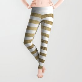Elegant stylish trendy faux gold modern stripe Leggings