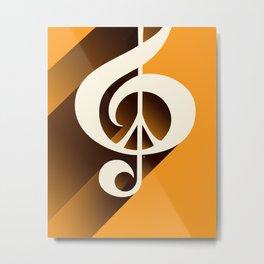 Retro Shadow Music & Peace, Orange Metal Print