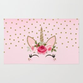 Pink & Gold Cute Floral Unicorn Rug