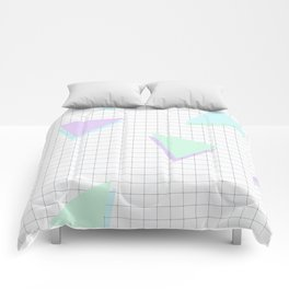 Cool-Color Pastel Triangles on Grid Comforters