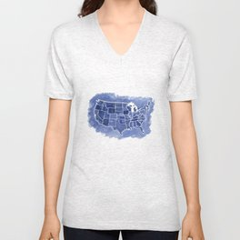 Watercolor Map of America Unisex V-Neck
