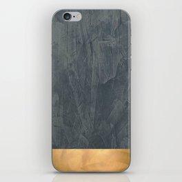 Slate Gray Stucco w Shiny Copper Metallic Trim - Faux Finishes - Rustic Glam iPhone Skin