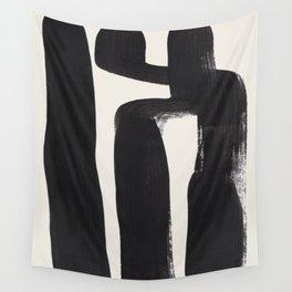 Mid Century Modern Minimalist Abstract Art Brush Strokes Black & White Ink Art Ancient Stripes Wall Tapestry