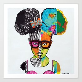 Girl with Afro Puffs Art Print