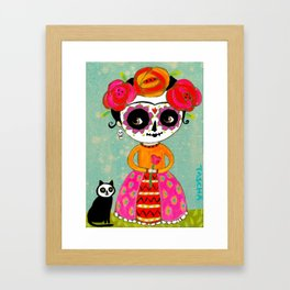Day Of The Dead Frida with Black Cat Framed Art Print