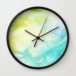 Abstract lime green teal hand painted watercolor pattern Wall Clock