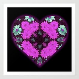 Mandala Flower Love Heart Art Print
