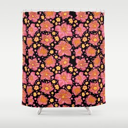 Pretty Pink And Yellow Floral Pattern Shower Curtain