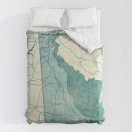 Delaware State Map Blue Vintage Comforters