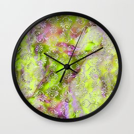 Psicodelic Adventure - Yellowish Green Wall Clock