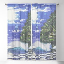 Tardis Art And The Moon Shine Sheer Curtain