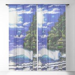 Tardis Art And The Moon Shine Sheer Curtain