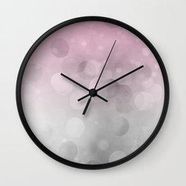 Pink  Grey Soft Gradient Bokeh Lights Wall Clock