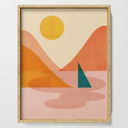 Abstraction_Lake_Sunset Serving Tray