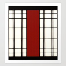 Shoji - red Art Print