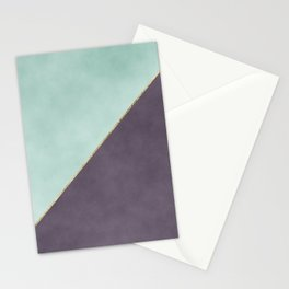 Modern abstract geometrical mint dark lavender watercolor Stationery Cards