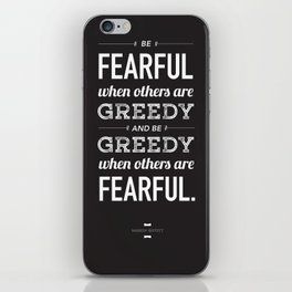 Buffett | Be Fearful When Others Are Greedy | Black iPhone Skin