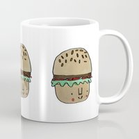 burger Mugs featuring Burger by Tuesday Alissia