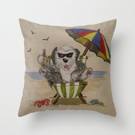 Sheepie at beach 1 Throw Pillow