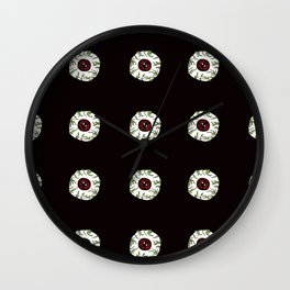 Zombie Eyeball Repeat in Midnight Black Wall Clock