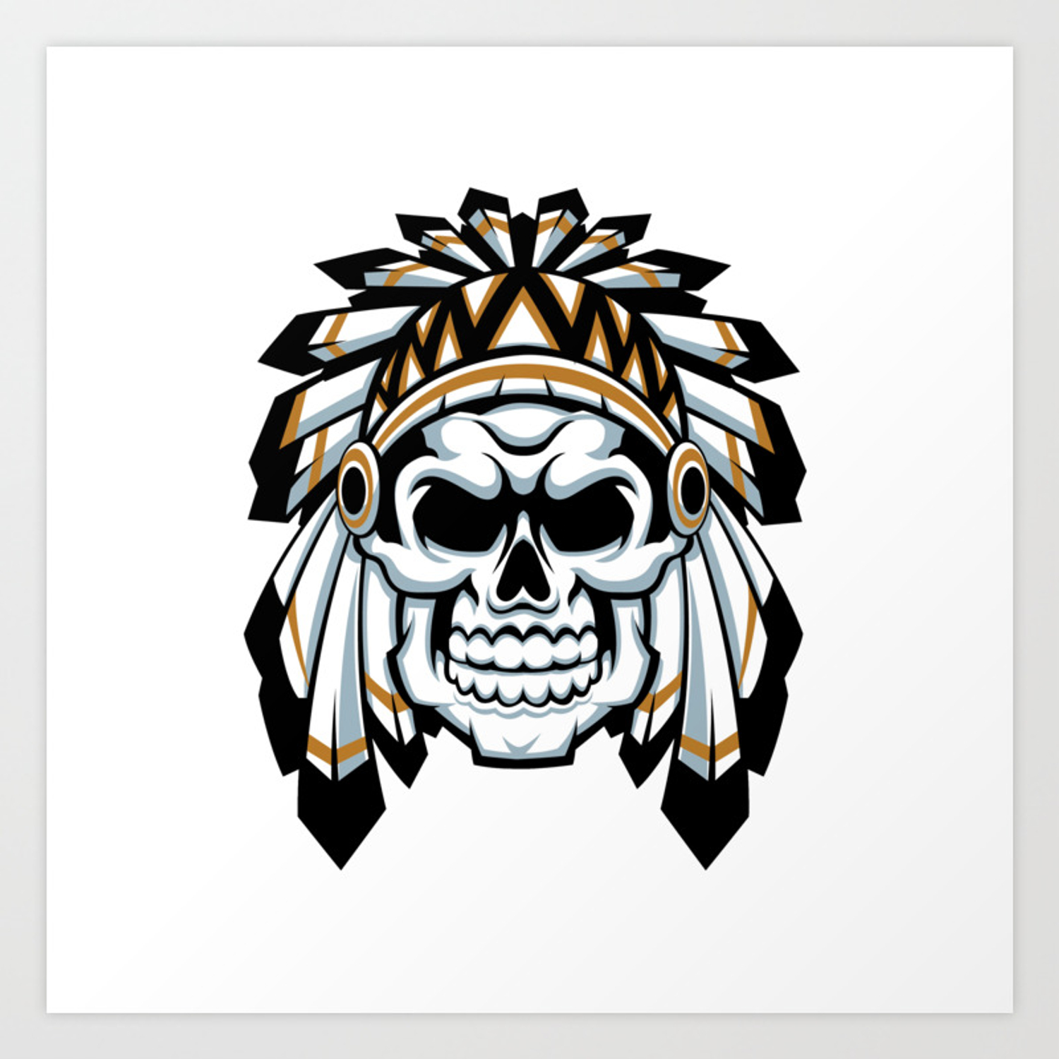 skull indian chief with feather hat Art Print