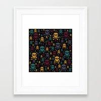 skulls Framed Art Prints featuring Skulls by Alice Gosling