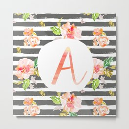 A botanical monogram. Letter initial with colorful flowers and gray stripes Metal Print
