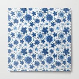 Organic Medallions - Blue Metal Print