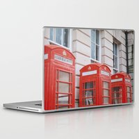telephone Laptop & iPad Skins featuring Telephone boxes by For the easily distracted...