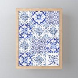 Azulejo VIII - Portuguese hand painted tiles Framed Mini Art Print