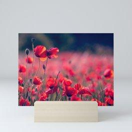 RED FLOWER SELECTIVE FOCUS PHOTOGRAPHY Mini Art Print