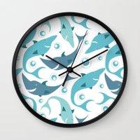 sharks Wall Clocks featuring Sharks by Julia Badeeva