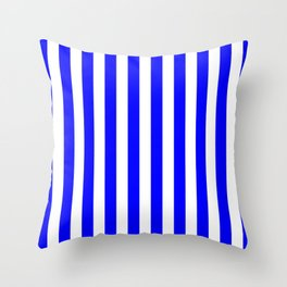 Vertical Stripes (Blue & White Pattern) Throw Pillow