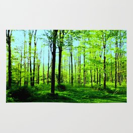 Sky Blue Morning Forest Rug