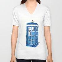 tardis V-neck T-shirts featuring Tardis by Stepharooskie