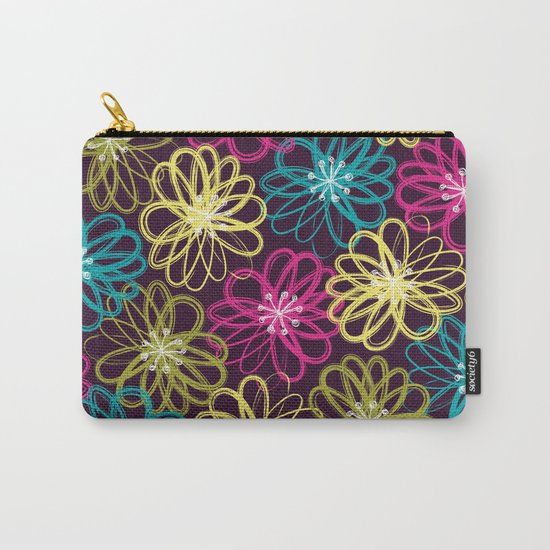 Drybrush Floral Carry-All Pouch