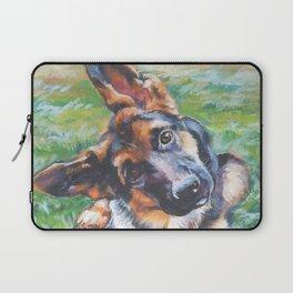 German Shepherd dog portrait painting by L.A.Shepard fine art alsatian Laptop Sleeve