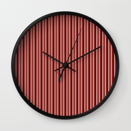 Vintage New England Shaker Village Milk Paint Barn Red Small Vertical Bedding Stripe Wall Clock