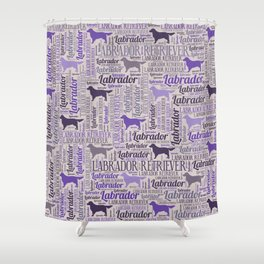 Labrador retriever silhouette and word art pattern Shower Curtain