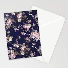 Elegant navy blue lilac pink gold glitter floral Stationery Cards