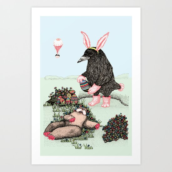 Crow Serie :: Easter Crow Art Print