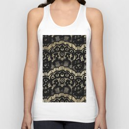 Luxury chic faux gold black floral french lace Unisex Tank Top