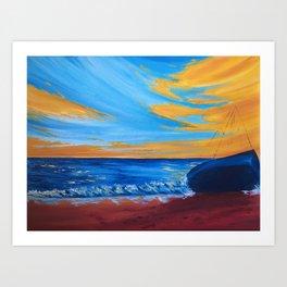 beach landscape painting, seascape art, boat art Art Print
