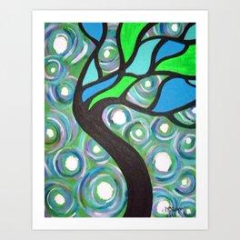 Green Stain Glass Tree Art Print