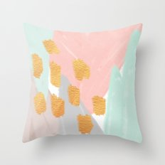 Soft Angles 2 - coral and mint abstract Throw Pillow