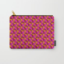 Tiled pattern of dark pink rhombuses and orange triangles in a zigzag and pyramid. Carry-All Pouch